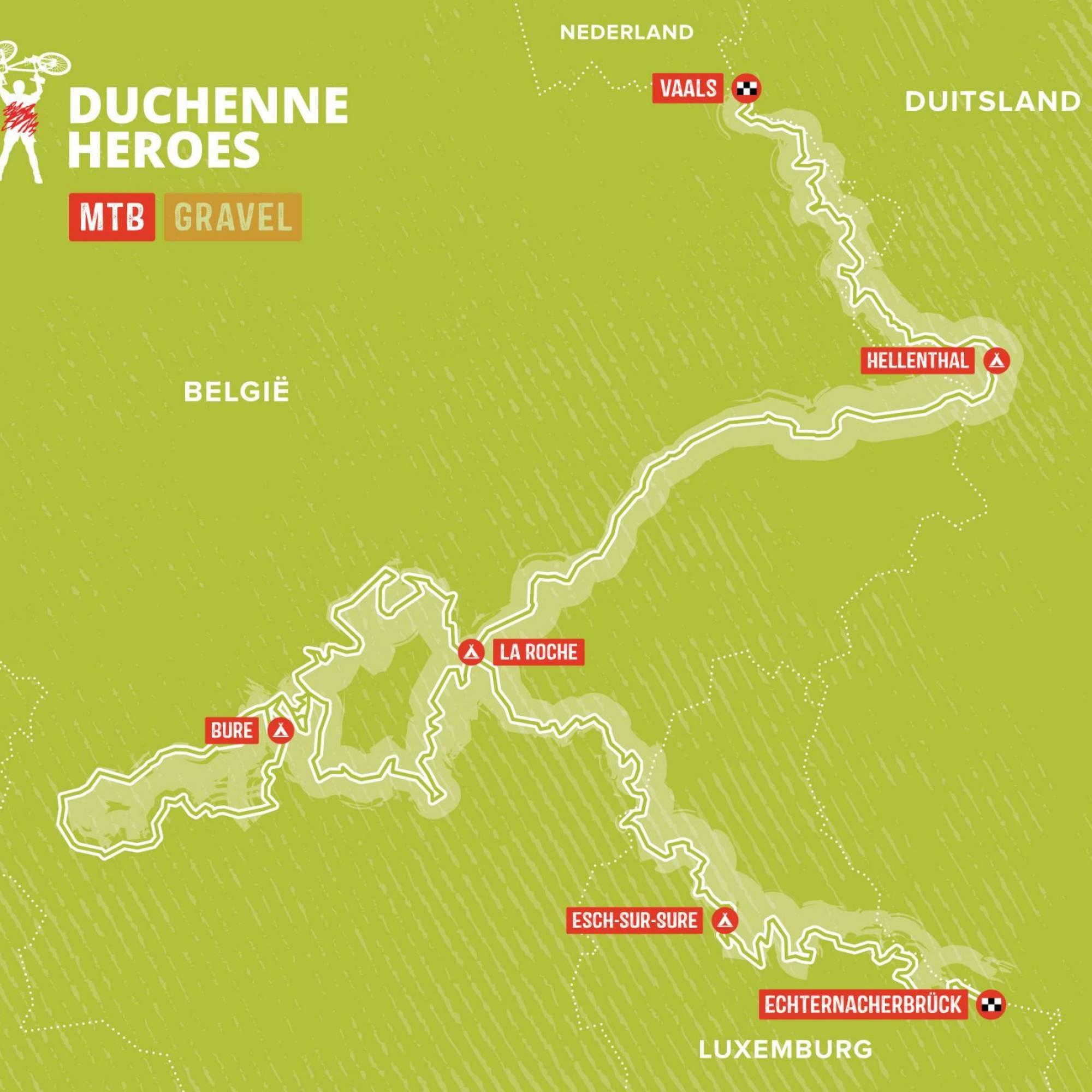 Mountainbike Route Duchenne Heroes